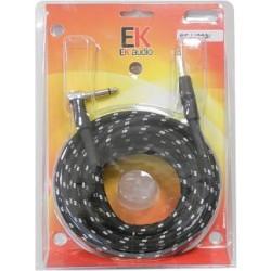 Cable para guitarra EK audio Trenzado de tela SFJJ0036 Jack Jack recto acodado